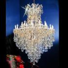 【LA LUCE】大型アスフールorスワロフスキークリスタルシャンデリア 31灯 ゴールド(W1143×H1677mm)