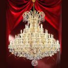 【LA LUCE】大型チェコorスワロフスキークリスタルシャンデリア 84灯 ゴールド(W1530×H1730mm)