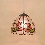 ステンドグラス・ペンダントランプ1灯「Tiffany Glass ピンクローズ」