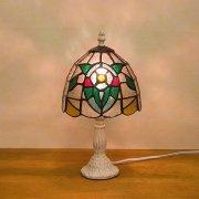 ステンドグラス・テーブルランプ「Tiffany Glass」 フラワー(φ170×H310mm)