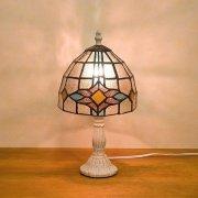 ステンドグラス・テーブルランプ「Tiffany Glass」 ダイヤモンド(φ170×H310mm)