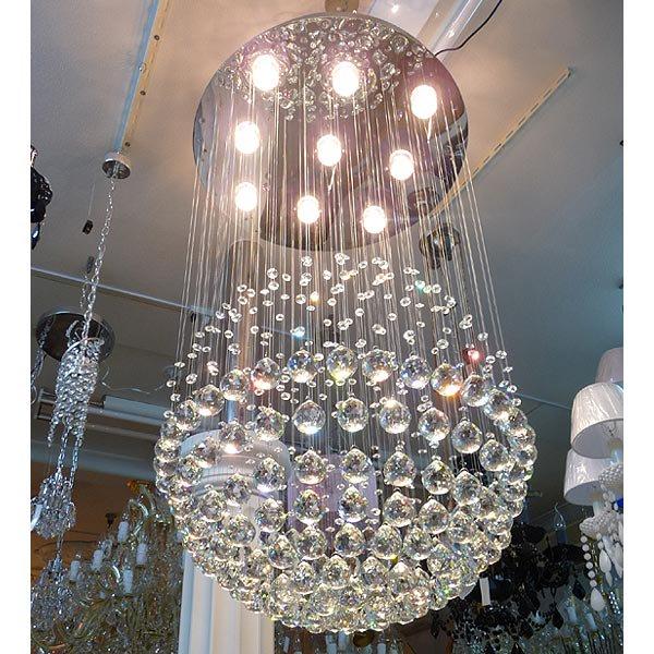 【ALABASTER】 スワロフスキー ボールクリスタルシャンデリア 9灯(W600×H950mm)