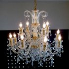 【LA LUCE】チェコorスワロフスキークリスタルシャンデリア 12灯 クロームorゴールド(W860×H700mm)