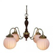 【LAMPS】ガラスシェードペンダントシャンデリア 4灯(W670×D670×H950mm)
