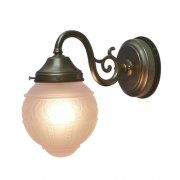 <b>【LAMPS】</B>屋外用(防雨型)ガラスシェードウォールランプ 1灯(W140×D250×H240 mm)