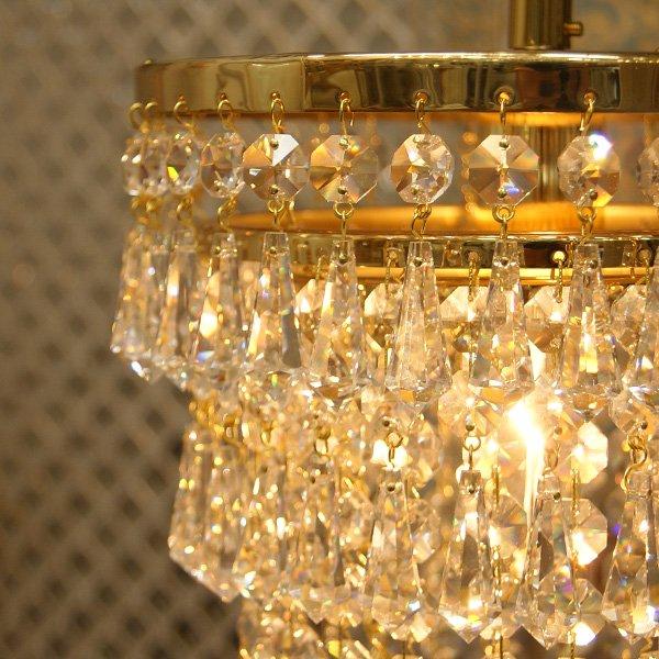 【Preciosa】真鍮製最上級クリスタルライン・シャンデリア 1灯(W220×H300mm)