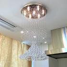 【LA LUCE】アスフールorスワロフスキー・ボールクリスタルシャンデリア 7灯(W500×H1000mm)