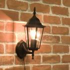<b></b>アンティーク調ウォールランプ「ヘキサゴン・ブラック」1灯(W170×D200×H350mm)