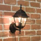 <b>【即納可!】</b>アンティーク調ウォールランプ「スクエア・ブラック」1灯(W150×D200×H370mm)