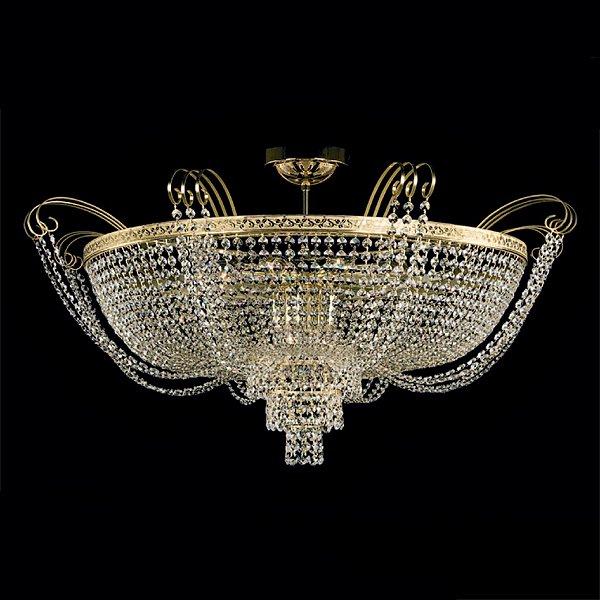 【Preciosa】最上級ブランドクリスタルシーリングシャンデリア 12灯 ブラス(φ900×H470mm)