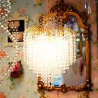 <B>【ALABASTER】</B>クリスタルラインシャンデリア 4灯 ゴールド(W420×H650mm)