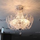 <B>【LA LUCE】</B>クリスタルシーリングシャンデリア 9灯 クローム(W600×H600mm)