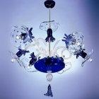 <B>【DeMajo】</B> イタリア製 デザイン・ヴェネチアンシャンデリア 6灯 ブルー(W880×H1000mm)