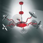 <B>【DeMajo】</B> イタリア製 デザイン・ンシャンデリア 8灯 レッド (W1000×H720mm)