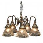 <b>【LAMPS】</b>アンティーク調ガラスシェードシャンデリア 5灯(W430×D430×H250mm)