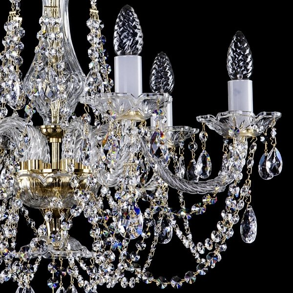 【ART GLASS】 クリスタルシャンデリア 6灯(W620×H560mm)