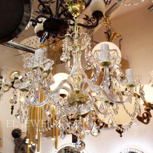 【ART GLASS】 クリスタルシャンデリア 6灯(W560×H490mm)