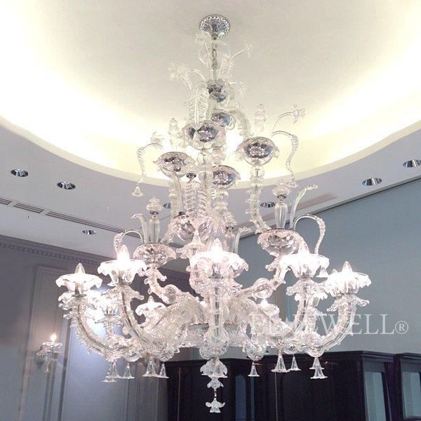 【La Luce】 ヴェネチアン調 ガラス製シャンデリア 12灯 クローム(φ1200×H1550mm)