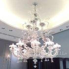 <B>【La Luce】</B>ヴェネチアン調 ガラス製シャンデリア 12灯 クローム(φ1200×H1550mm)