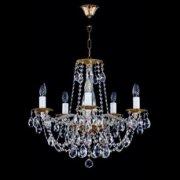 【ART GLASS】真鍮製クリスタルシャンデリア 5灯(W560×H540mm)