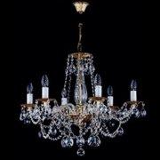 【ART GLASS】真鍮製クリスタルシャンデリア 6灯(W560×H540mm)