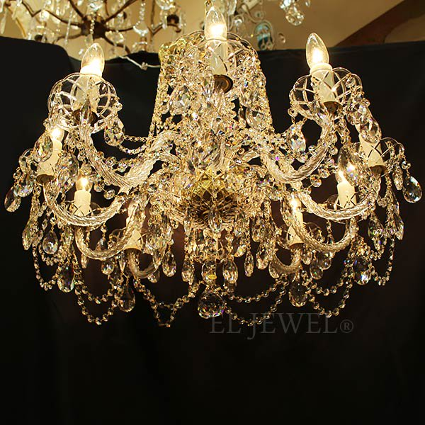 【在庫有!/ゴールド1台】【ART GLASS】クリスタルシャンデリア「DONATELA」10灯(W670×H480mm)