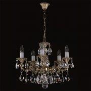 <B>【ART GLASS】</B>真鍮製チェコorスワロフスキークリスタルシャンデリア 5灯(W500×H530mm)