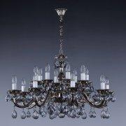 【ART GLASS】真鍮製クリスタルアンティーク調シャンデリア 16灯 クローム(W810×H440mm)