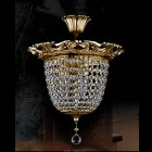 【ART GLASS】真鍮製クリスタルシーリングシャンデリア 3灯(W280×H300mm)