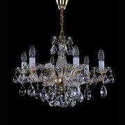 <B>【ART GLASS】</B>チェコorスワロフスキークリスタルシャンデリア 6灯(W580×H430mm)
