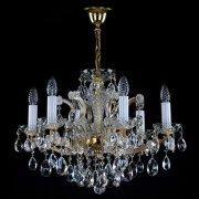 <B>【ART GLASS】</B>チェコorスワロフスキークリスタルシャンデリア 6灯(W590×H450mm)