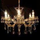 <B>【ART GLASS】</B>チェコorスワロフスキークリスタルシャンデリア 6灯(W590×H440mm)