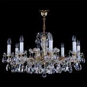 <B>【ART GLASS】</B>チェコorスワロフスキークリスタルシャンデリア 8灯(W800×H440mm)