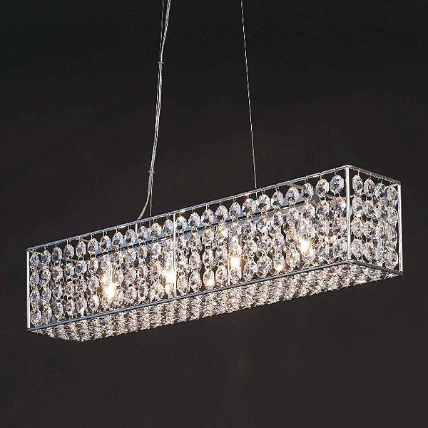 【在庫有!】 スワロフスキークリスタルラインシャンデリア 4灯クローム  (W700×H250mm)