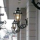 ガラスシェードアイアン外灯ブラケット 1灯 アンティークブラウン(W270×D400×H600mm)