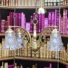 <b>【LAMPS】</b>アンティーク調ガラスシェードシャンデリア 4灯(W560×D560×H310mm)