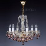 <B>【ART GLASS】</B>チェコクリスタルシャンデリア 6灯 ゴールド(W530×H460mm)