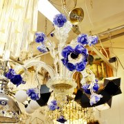 【在庫有!】【VENICE ARTE】ヴェネチアンシャンデリア「Blueroses」3灯(φ580×H630mm)