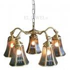 <b>【LAMPS】</b>アンティーク調ガラスシェードシャンデリア 5灯(W465×D450×H270mm)