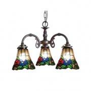 【LAMPS】アンティーク調ガラスシェードシャンデリア 3灯(W410×D370×H310mm)
