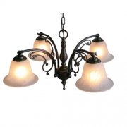 【LAMPS】アンティーク調ガラスシェードシャンデリア 4灯(W460×D460×H310mm)
