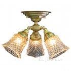 <b>【LAMPS】</b>アンティーク調ガラスシェード・シーリングシャンデリア 3灯(W300×D300×H260mm)