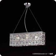 【1台在庫有!】【LA LUCE】モダンシャンデリア 2灯 シルバー(W350×H170mm)