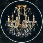 <b>【LA LUCE】</B>クリスタルシャンデリア 6灯 ゴールド(W580×H570mm)