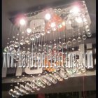 <b>【LA LUCE】</B>ワイヤーアート・クリスタルシーリングシャンデリア 6灯 クローム(W760×D360×H780mm)