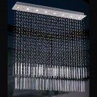 <b>【LA LUCE】</B>ワイヤーアート・クリスタルシーリングシャンデリア 8灯 クローム(1200×200×H1260mm)