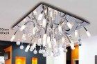 <b>【LA LUCE】</B>デザインクリスタルシーリングシャンデリア 24灯 クローム(600×600×H370mm)