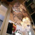 【LA LUCE】ワイヤーアート・クリスタルシーリングシャンデリア 9灯 ブラック(φ680×H2000mm)