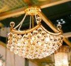 【LA LUCE】ボールクリスタルシャンデリア 15灯 ゴールド(W900×H650mm)