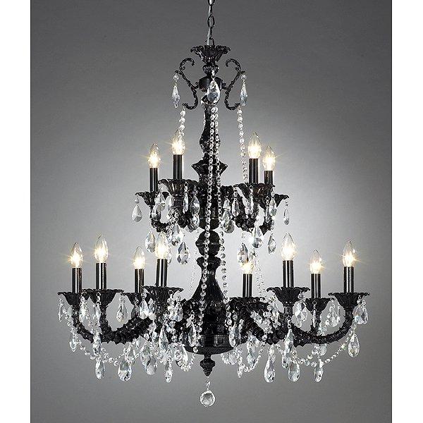 【LA LUCE】 クリスタルブラックシャンデリア 12灯(W900×H900mm)